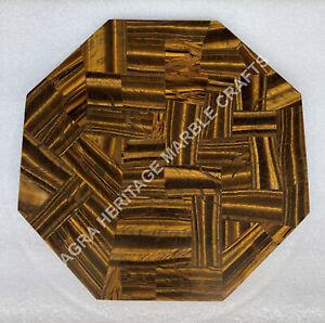 "12"" Random Marble Coffee Table Top Tiger Eye Inlay Kitchen Furniture Decor E1460"
