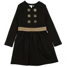 Girls Marc Jacobs Party Dress Age 6 Years Black Long Sleeve Gold Glitter Waist