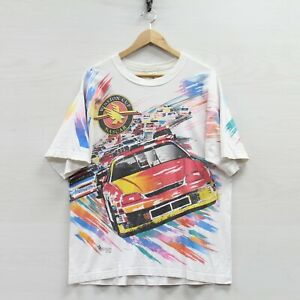 Vintage 1996 Winston Cup Series Racing T-Shirt Large 90s NASCAR All Over Print