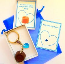 """""""My last Rolo"""" Keyring Blue Heart for Men Husband to be """"Something Blue"""" Box/Tag"""