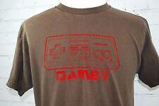 Nintendo Game Controller 'GAMER' Men's T-Shirt - Size Large Brown Short-Sleeve