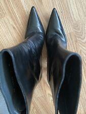 Authentic Stuart Weitzman Leather Ankle Boots, Women's Size 6M Black