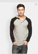 Solid Full Sleeve Grey and Black Hooded Cotton T-Shirt