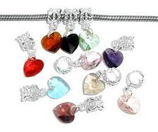 PD: 10 Mix European Perlen Spacer Facettiert Kristall Dangle Beads Herz 24x10mm