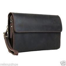 Genuine cowhide dark brown wallet men purse notecase travel shopping clutch bag