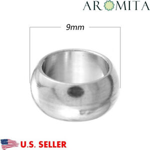 2 Pieces Stainless Steel Spotted 9mm x 9.5mm Tube Column Bead Hole 5.5mm