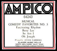 AMPICO ReCut MUSICAL COMEDY FAVORITES No. 3 Carroll 64243 Player Piano Roll