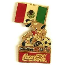 Coca Cola Mexico World Cup 1994 Lapel Pin Flag Striker the Dog Soccer Ball