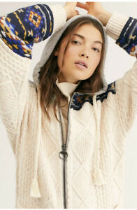 Free People Capture The Moment Sweater Coat Long Hooded Cardigan XS $398