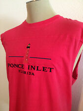 New Men's Ponce Inlet Red Vintage Design Tank Top Muscle Shirt Size Large