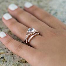 1.65 Ct Genuine Diamond Wedding Rings Fine 14K Rose Gold Round Size K M N O