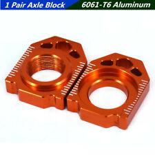 1 Pair Orange Aluminum Motorcycle Rear Axle Block Chain Adjuster For KTM SX SXF