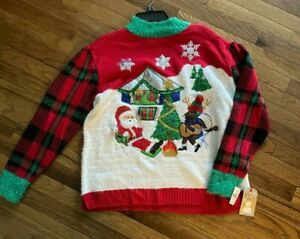 Merry & Bright Women's Ugly Christmas Sweater Camping Santa & Reindeer  S - NWT