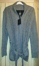 BNWT Bolongaro Trevor ladies grey thick cable knit cardigan size XL
