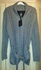 BNWT Bolongaro Trevor ladies grey thick cable knit cardigan size XL