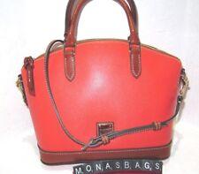 Dooney & Bourke Geranium Orange & Saddle Leather Domed Toni Satchel Bag NWT $228
