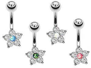 Titanium Bar - Small & Dainty Flower Crystal Belly Bar - 6mm 8mm 10mm 12mm 14mm