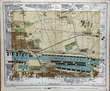 Vintage London Street Plan SILVERTON VICTORIA DOCK  WOOLWICH Antique Map c1910