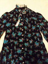 Vintage Velvet Dressing Gown 1970's Homemade Satin Detail Blue Floral Retro