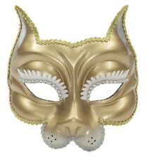Gold Venetian Wild Cat Mask Costume Accessory Prop Tiger Cougar Jungle Feline