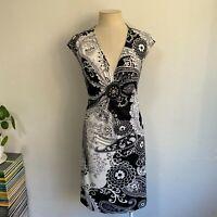 Vintage Dress Size 10 - 12 Black White Paisley Embellished V-Neck Cap Sleeve
