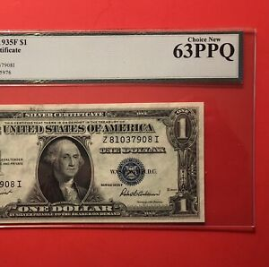 1935 F- $1 SILVER CERTIFICATE NOTE,GRADED BY LEGACY, CHOICE NEW 63 PPQ.
