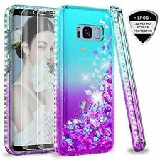 Galaxy S8 Plus Case with 3D Screen Protector Glitter Bling Liquid Teal/Purple