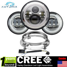 7'' LED Projector Daymaker Headlight + Passing Lights For Harley Electra Glide C