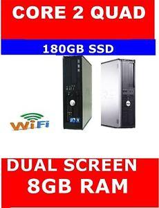 DELL 780 COMPUTER PC CORE 2 QUAD DUAL SCREEN 180GB SSD 16GB RAM WIFI READY