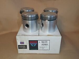 NOS BADGER BRAND STD PISTON SET WITH RINGS FOR JEEP WILLYS