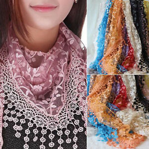 Beautiful New Ladies Embroidered Lace Scarf, Choice of Colours, Sparkly Scarves