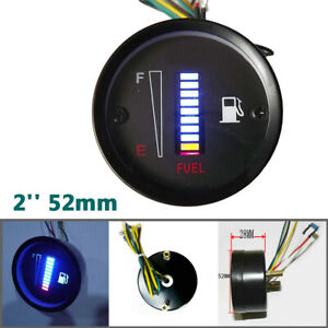 2'' inch 52mm Universal 10LED Fuel Level Meter Digital Gauge 12V Car Motorcycle