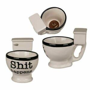 SHI* HAPPENS NOVELTY TOILET 3D HANDLE CERAMIC COFFEE TEA MUG CUP