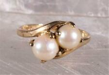 Double Pearl Ring 10K Yellow Gold Size 7.25