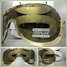 CLASSIC VINTAGE RETRO Wrap SHIELD Style SUN GLASSES Gold Metal Frame Brown Lens