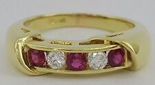 0.50 ct 18K Yellow Gold Red Ruby & Round Cut Diamond Wadding / Fashion Ring