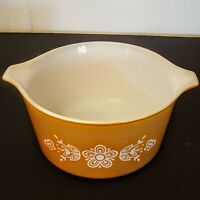 "PYREX Ovenware Bowl 6 1/4"" Butterfly Gold Small Open Casserole Tab Handle 473-B"