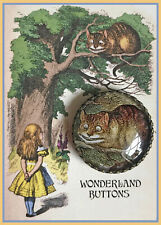 "CHESHIRE CAT Glass Dome BUTTON 1 1/4"" Vintage ALICE IN WONDERLAND Tenniel ART"
