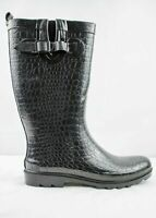 Capelli New York Black Moc Croc Wellington Boots UK 4 EU 37 LN099 OO 04