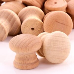 Pack of 10 drilled wooden beech knobs handles 40mm has 40 bvkd