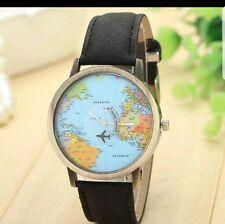 *UK Seller* Black strap global map wrist watch