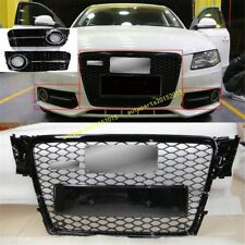RS4 Euro Gloss Black Grille + Fog Grille Cover For Audi A4 S4 B8 8K Avant 09-12
