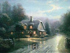 Moonlight Lane I - Cottage, English Countryside - Thomas Kinkade Dealer Postcard