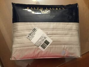 NEW RALPH LAUREN REED QUILTED 300TC 1 EUROPEAN VINTAGE SILVER PILLOW SHAMS $145