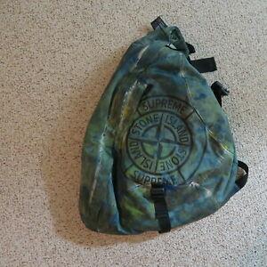Supreme Stone Island Shoulder Bag Teal Printed Camouflage Unique Backpack hat