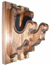 "Walnut Wooden Gun Rack Hangers Rifle Shotgun Old Style Wall Display 2"" Inch"