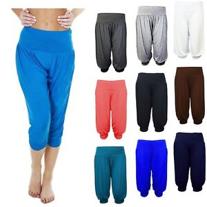 Women's 3/4 Harem Baggy Shorts Pants Plain Cropped Ali-Baba Trousers Pants 8-26