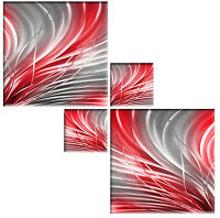 SILVER GREY & RED CANVAS PICTURES ABSTRACT WALL ART SQUARE MULTI 4 PIECE 104cm