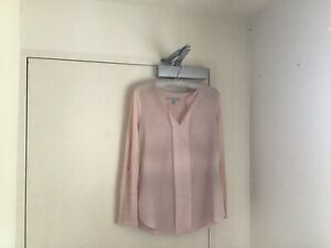 Top Pale pink V Neck Woven Back Sleeve Buttons Up 100% Viscose 14 Forever New