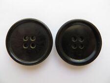 1950s Vintage Med 4-Hole Black Bakelite Coat Jacket Replacement Buttons-30mm